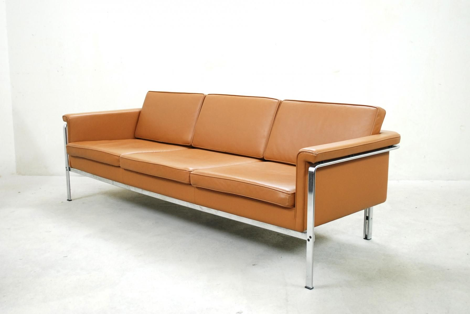 German 6913 Cognac Leather Sofa by Horst Brüning for Kill