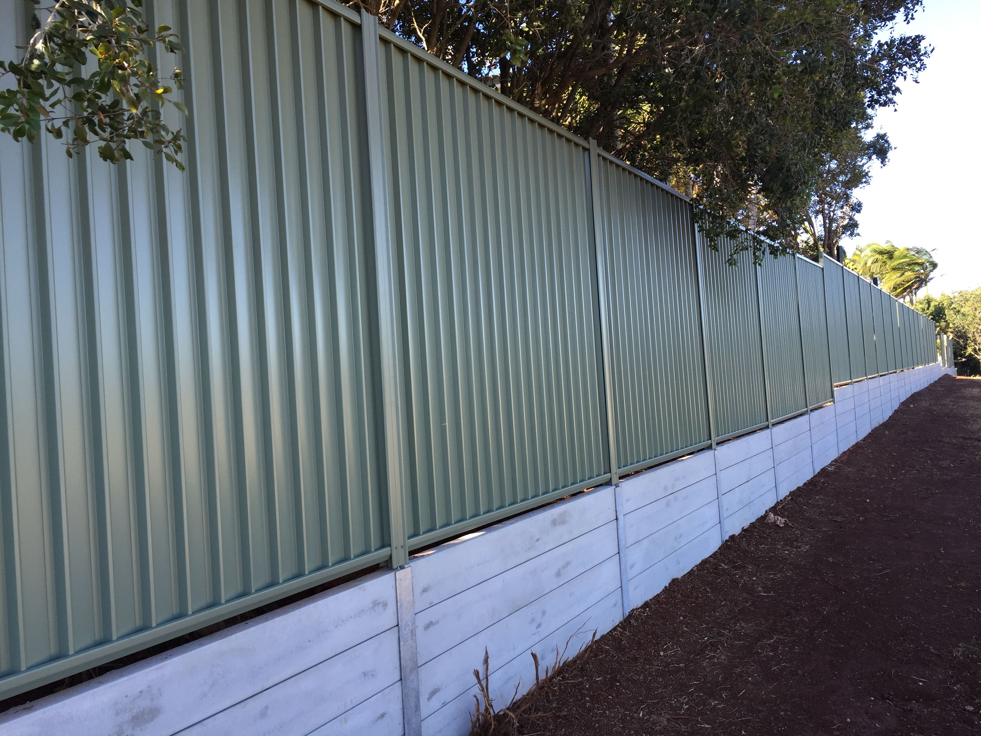Recently Completed Northbond Colourbond Fencing And Concrete Sleeper Retaining Wall At Aspley Concrete Sleepers Retaining Wall Concrete Sleeper Retaining Walls