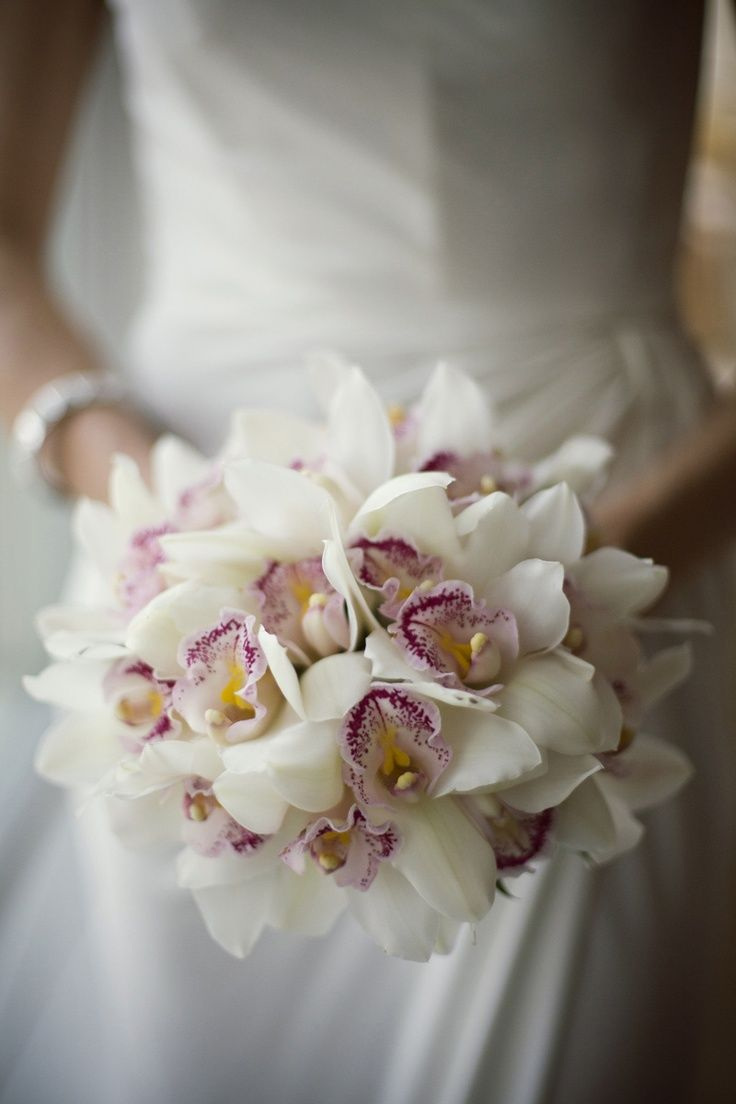 White Cymbidium Orchid Bridal Bouquet By Botanica