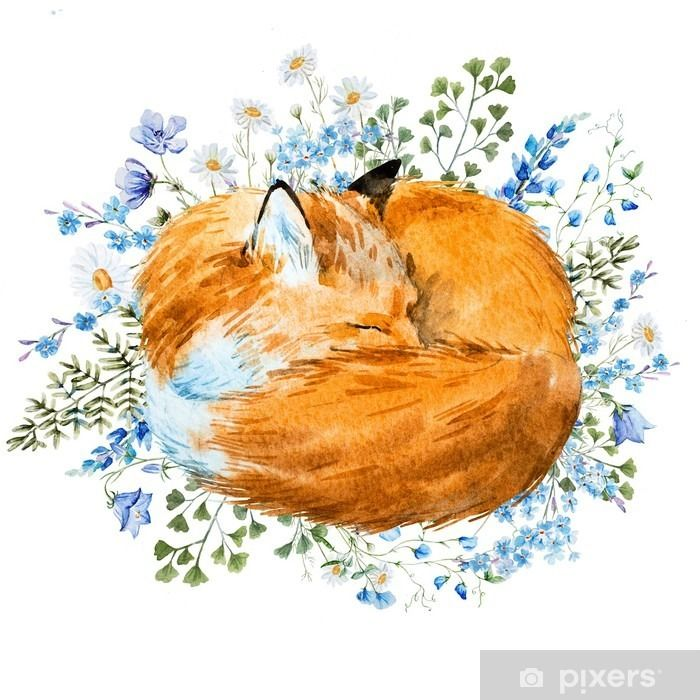 Sticker Aquarelle dormir renard • Pixers® - Nous vivons pour changer