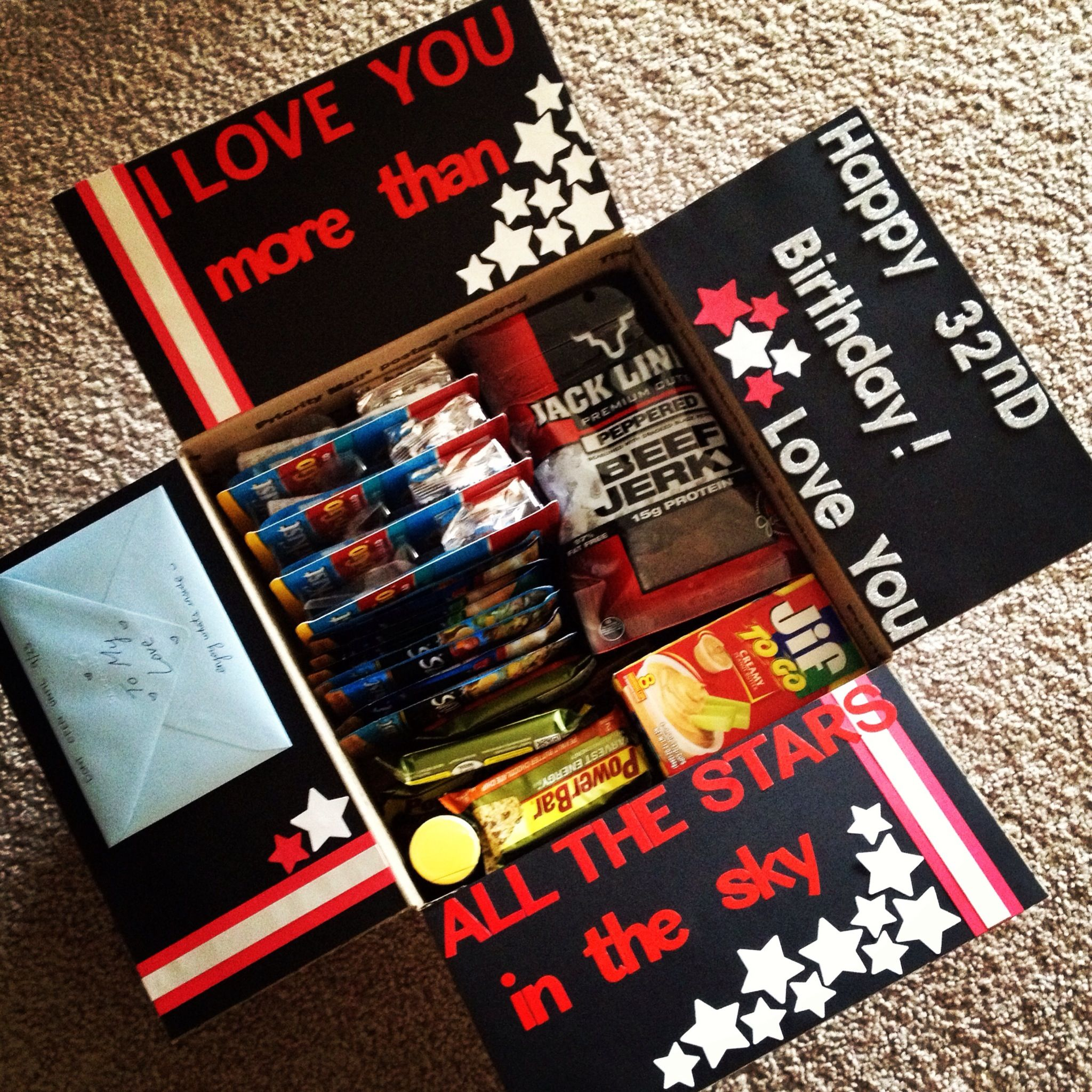 My first decorated care package, mixture of love and