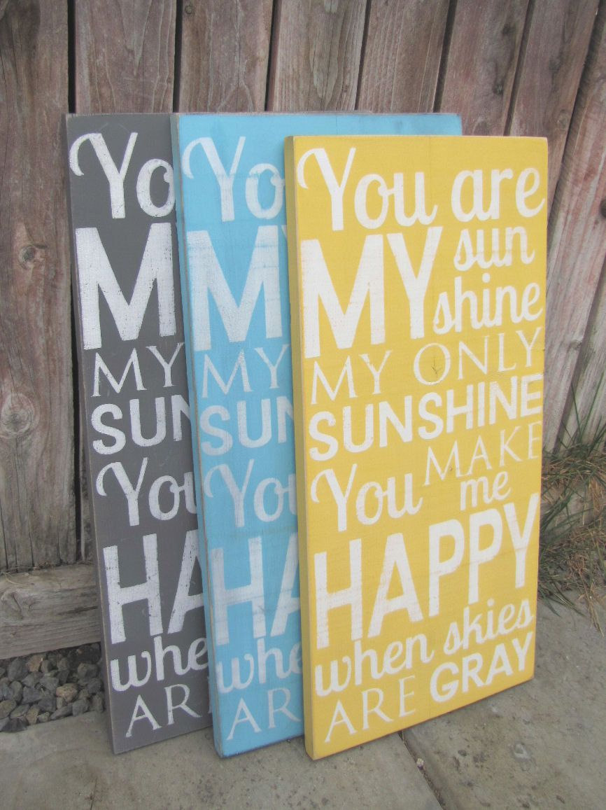You Are My Sunshine Wooden Distressed Subway Art Sign Wall Hanging ...