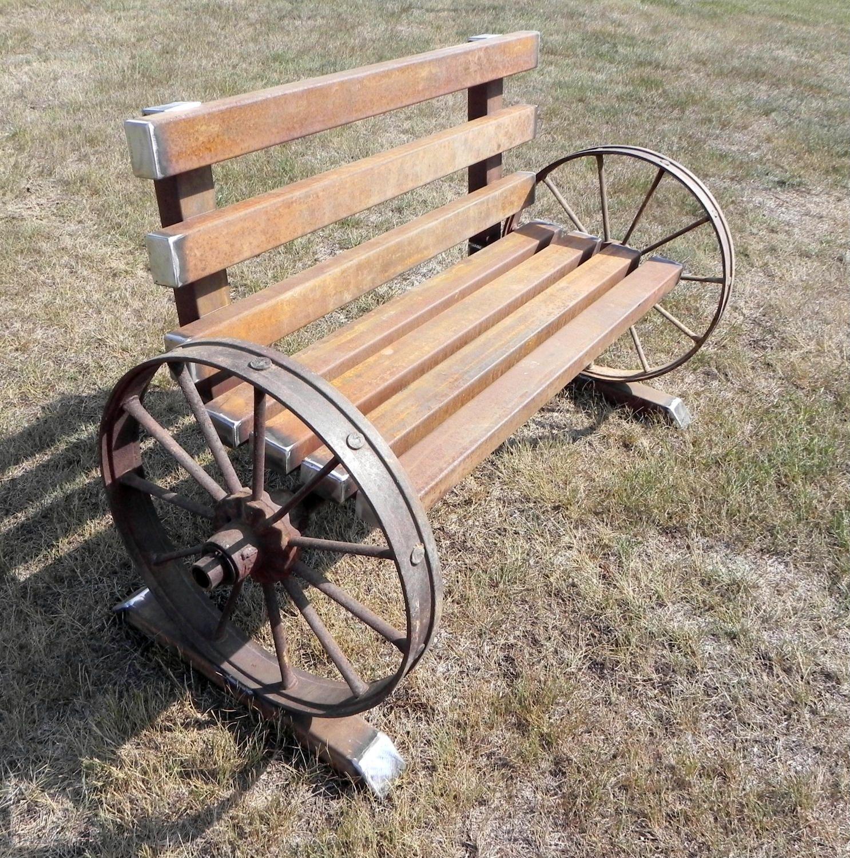 Antique Wheels Steel Bench Metal Tree Wall Art Metal Art