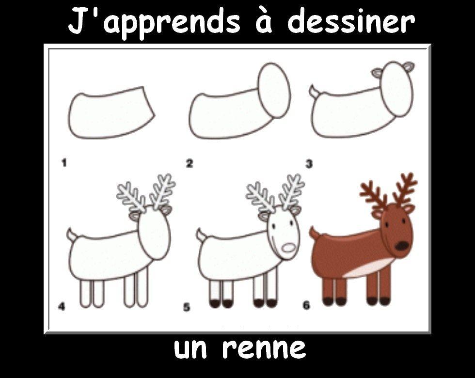 Des fiches j 39 apprends dessiner les animaux dessin par tapes dessin apprendre dessiner - Dessiner un renne ...