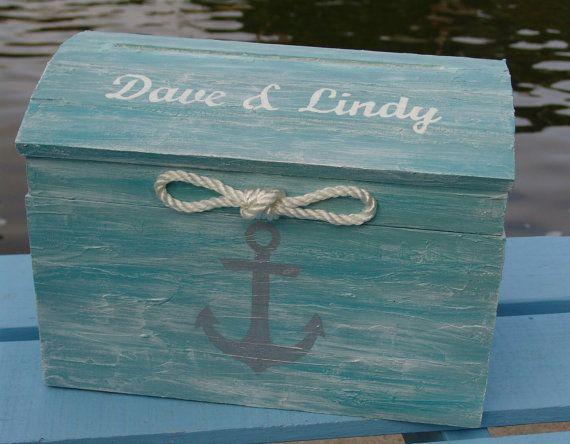 Personalized Pale Aqua Nautical Themed Beach Wedding Card Box