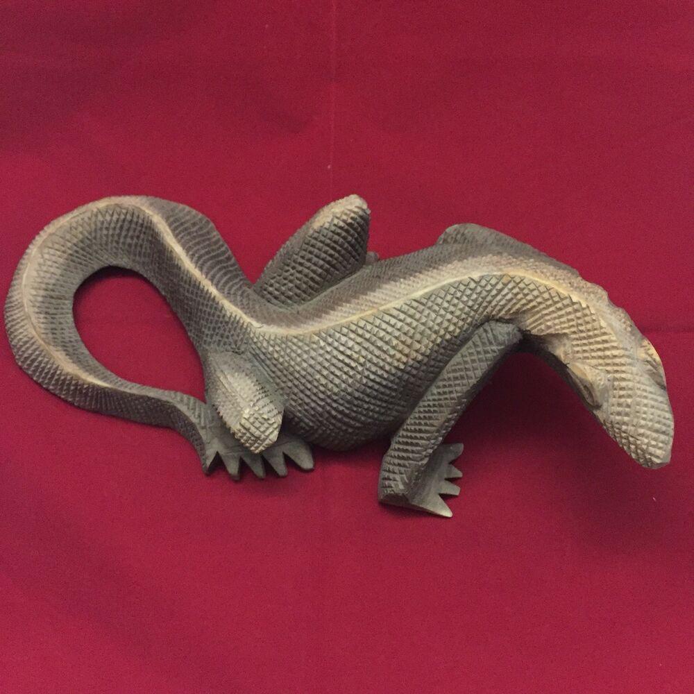 Details about Hand Carved Komodo Dragon/ Lizard Vintage 9