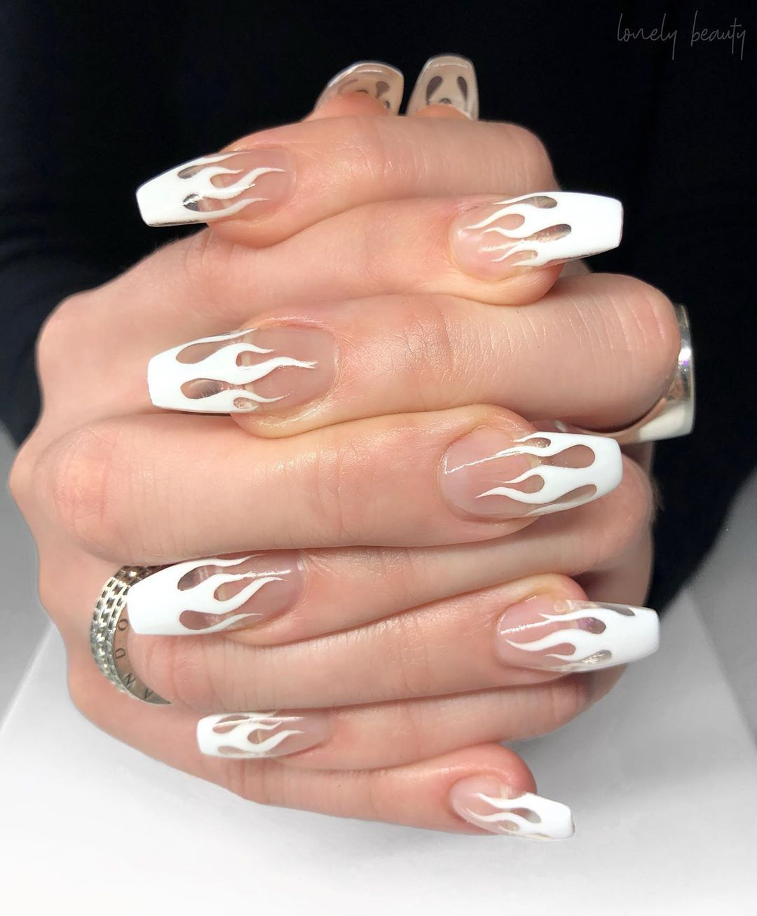 Hand Painted White Flames Overtop Of Clear Acrylics For Odette Inspo Bhambnails Coffin Nails Designs Fire Nails Clear Acrylic Nails