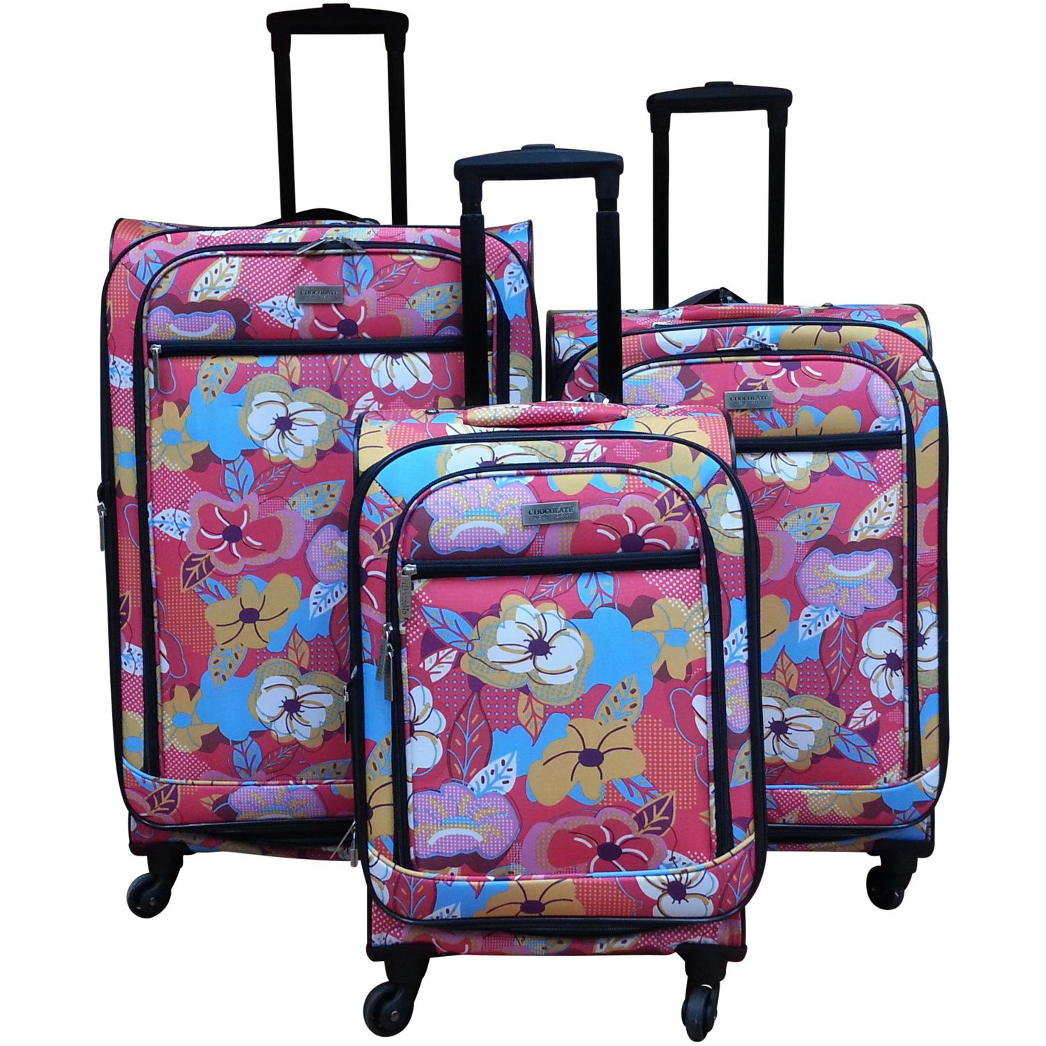 Chocolate New York Bright Flower 3-piece Spinner Luggage Set by ...