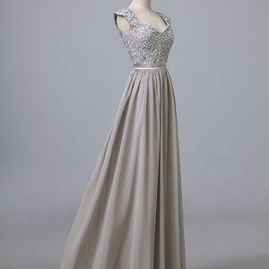 silver grey chiffon corset long cap sleeves bridesmaids