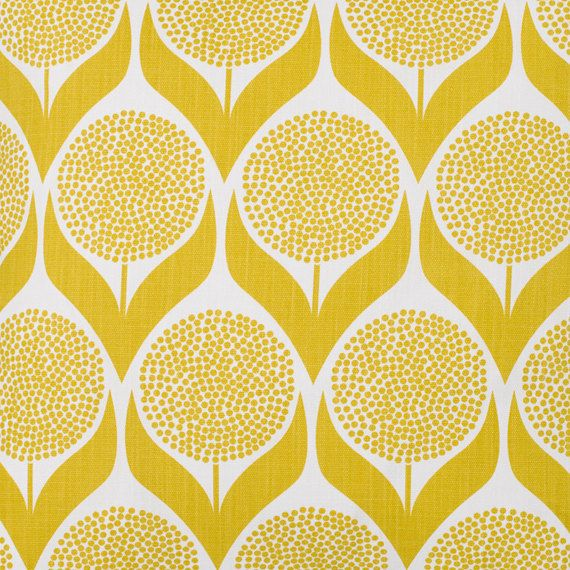 Retro mustard flower pattern  Fabric Panel Make A Cushion Upholstery Craft