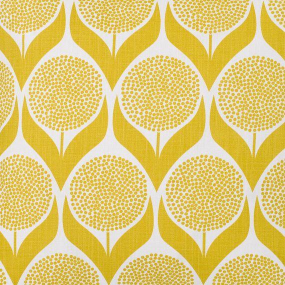 Yellow Fabric Retro Fabric Lime Yellow Curtain Fabric Modern Fabric Floral Fabric Geometric Scandinavian Design Designer Fabric