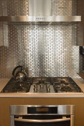 Silver Tile Backsplash Modern Metal Kitchen Metal Backsplash Kitchen Contemporary Kitchen
