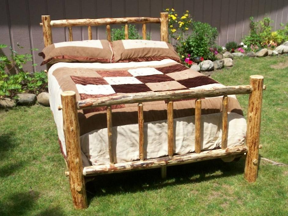 Twin Full Queen King Rustic Pine Log Bed Frame Country Lodge