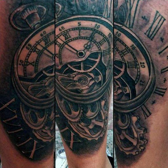 Man With Grandfather Clock Tattoos Clock Tattoo Clock Tattoo Design Grandfather Clock Tattoo