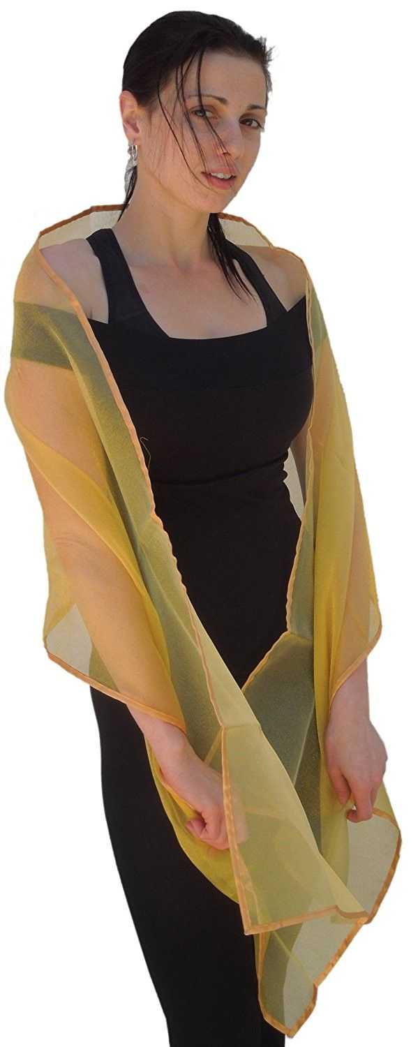 a3777954922 Sheer-Delights Crystal Organza Evening Wrap Shawl for Prom Wedding Bride -  Gold - C3118XWNVQT - Scarves   Wraps