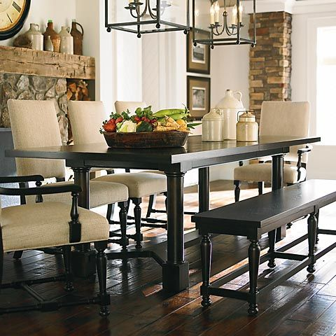 Turned Post Dining Table. Love the look of a dining set with a bench ...