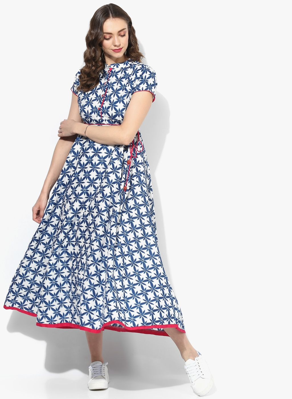 daa651d695c73 Floral Print Flared Kurta With Dori Belt #FloralPrint #Flared #Kurta ...