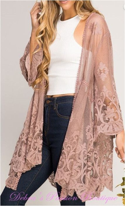 e53357fcec5 Floral Lace Kimono Sheer Cardigan - Mocha | Vintage Style Clothes in ...