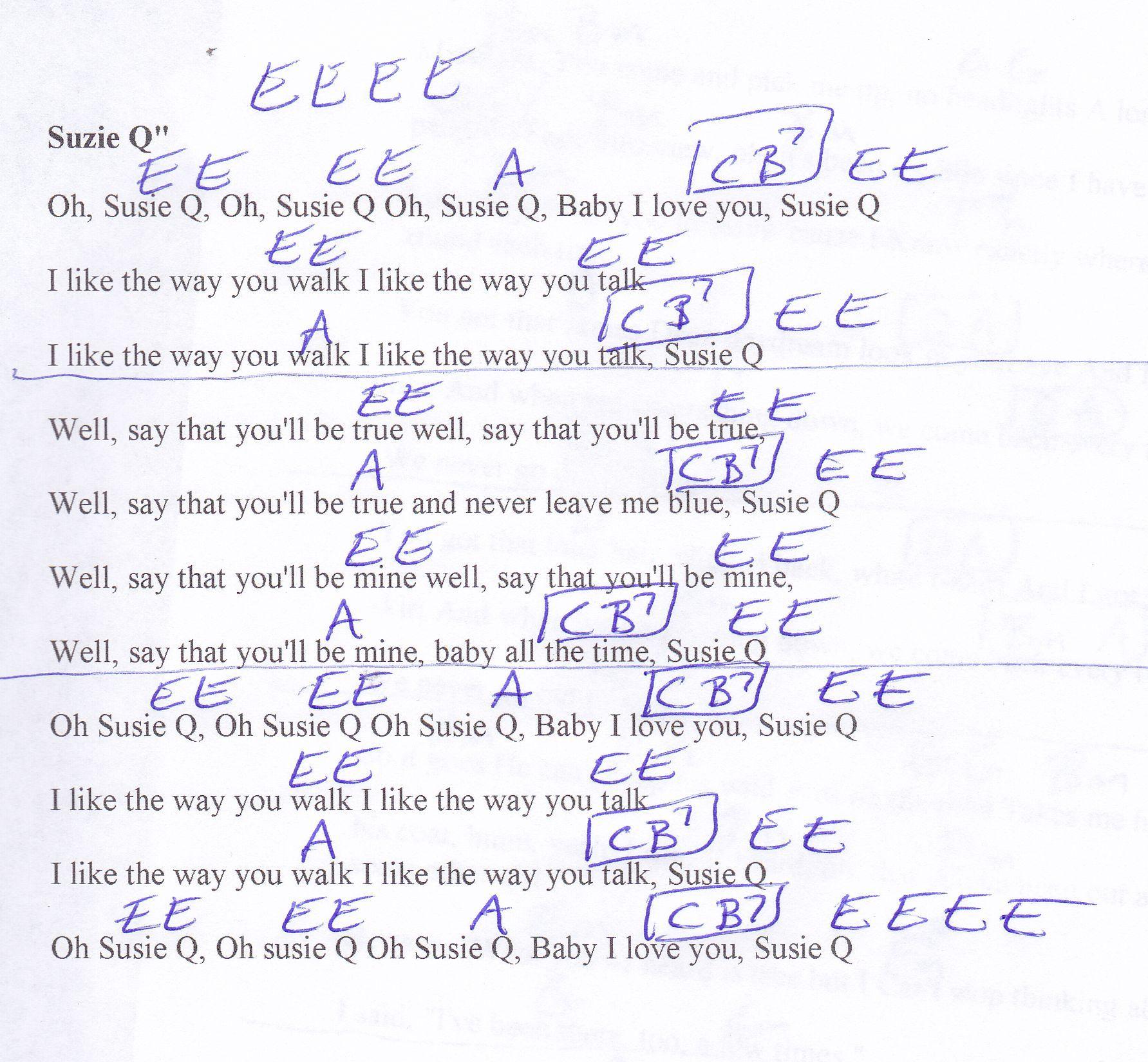 Suzie Q Ccr Guitar Chord Chart  Music Charts