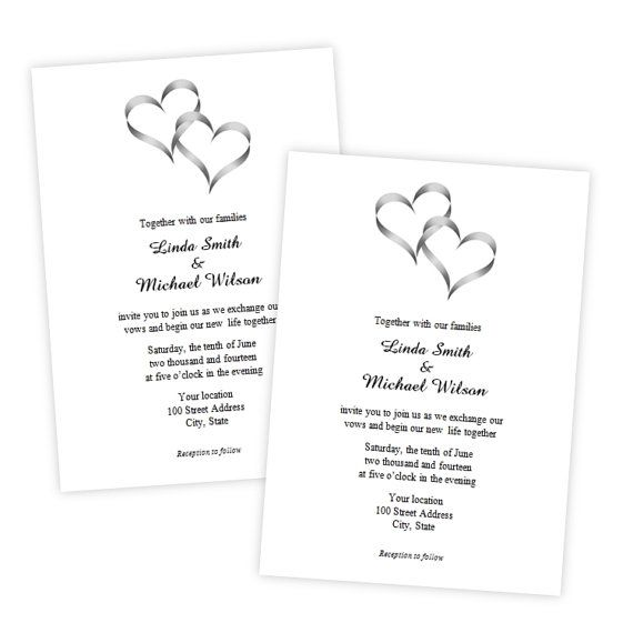 Two Intertwined Hearts Wedding Invitation DIY By AJsPrints