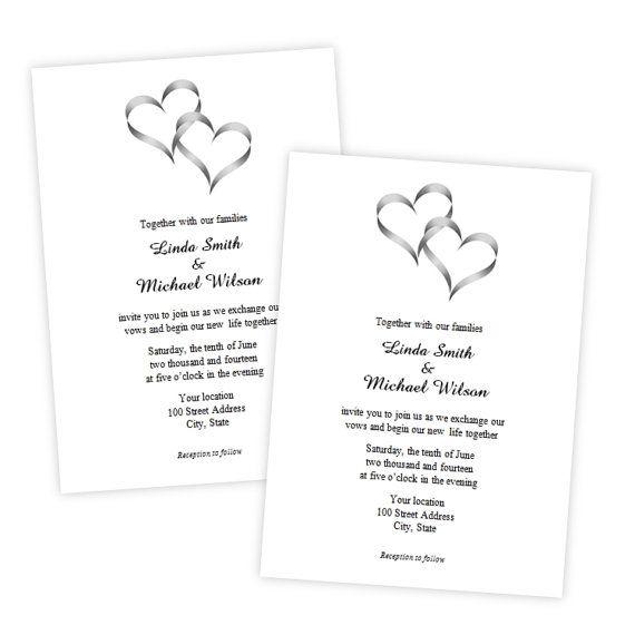 Two Intertwined Hearts Wedding Invitation - DIY Printable - microsoft word template invitation