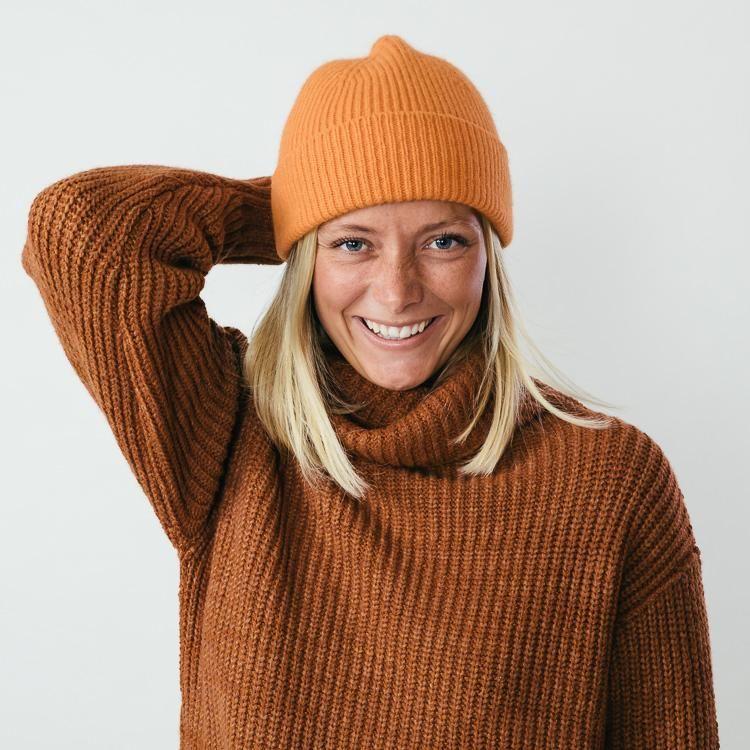 Model wearing Le Bonnet Flame Orange Beanie Hat  6ae51b43ef39