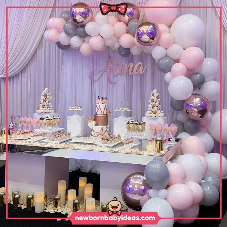 Elegant Birthday Cake Pink Balloons Decor Tulle Curtain Wall Decor Birthday Party Id Sweet 16 Decorations Girl Baby Shower Decorations Birthday Party Tables