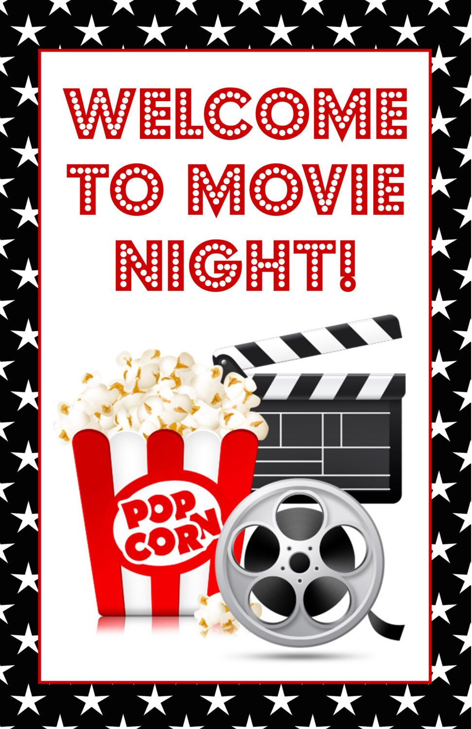 Movie Night Poster Sign Welcome To Movie Night Birthday Movie Night Birthday Party Movie Themed Party Movie Theater Party