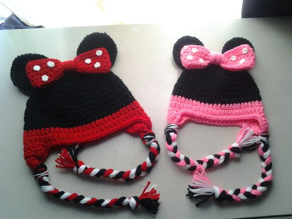 ONE Crochet baby Minnie Mouse hat, you choose red or pink one baby ...
