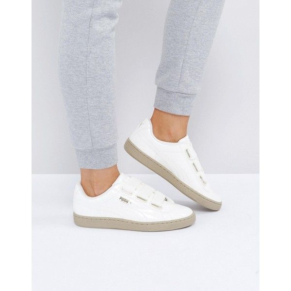 Puma Basket Heart Trainers In Patent Marshmallow ( 115) ❤ liked on Polyvore  featuring shoes 562809d8c