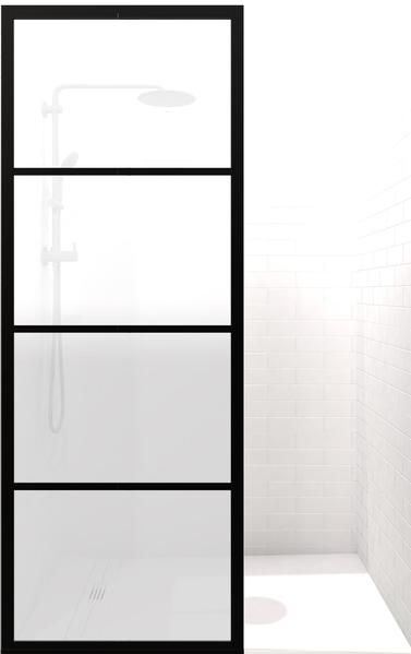 Gridscape Gs2 Shower Screen In Black With Satindeco Glass Shower