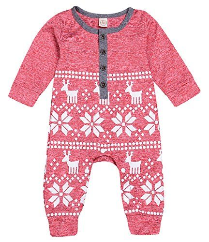 156b6546ccd6 Mini honey Baby Girl Boy Christmas Romper Long Sleeve Bod...