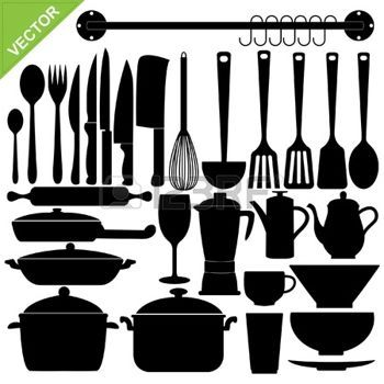 padelle: Set di sagome di strumenti da cucina Vettoriali