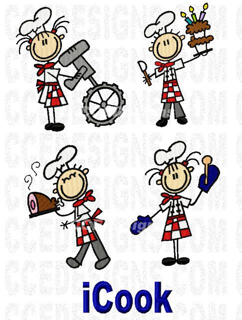 Kid Chefs Set Machine Embroidery Designs @ www.ccedesigns.com 5 designs in 2 sizes. For the 4x4 & 5x7 hoops.  Perfect for aprons, shirts, chef hats, chef jackets and more. These design set can also be purchased in either 4x4 or 5x7, ALL FORMATS ARE INCLUDED IN SINGLE SIZE DOWNLOADS. Purchase @: http://www.ccedesigns.com/zenshop/index.php?main_page=product_info&cPath=14&products_id=812
