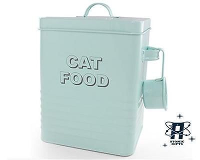New Vintage Style Retro Enamel Aqua Blue Large Cat Food Tin