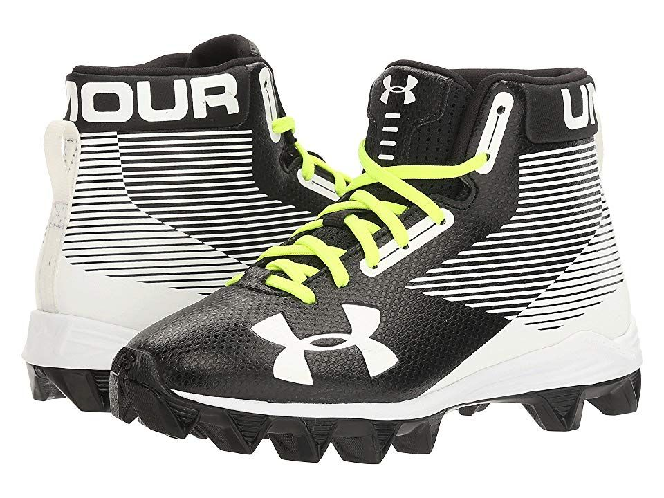 Under Armour Kids UA Hammer Mid RM Jr. Football (Little Kid/Big Kid) (Black/White) Boys Shoes. Keep the momentum charged during practices and games with the UA Hammer Mid RM football cleat from Under Armour Kids! Engineered synthetic upper with design. Mid-top silhouette. Traditional lace-up front for a secure  adjustable fit. Pull-on tab at rear for easier on and off wear. Slightly padded tongue and collar for comfort. Fabric #UnderArmourKids #Shoes #Athletic #GeneralAthletic #Black
