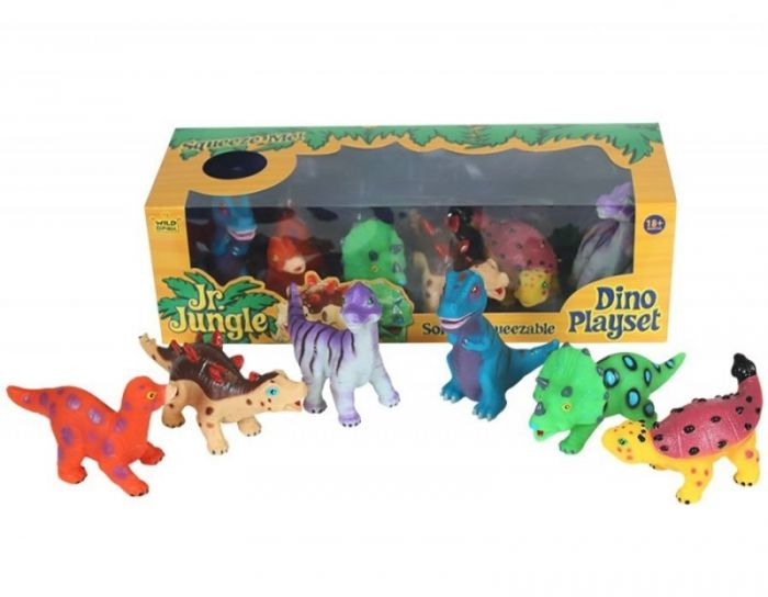 This cute Wild Republic six piece soft and squeezable dinosaur toy playset in a display box. Ideal playset for toddler imaginative play! Can be used as dino bath buddies.  Includes the following dinosaurs: T-Rex, Triceratops, Brachiosaurus, Ankylosaurus, Apatosaurus And Stegosaurus.