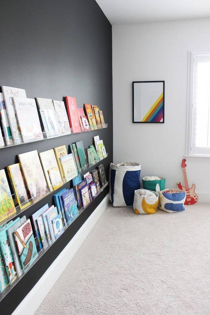 Peinture ardoise dans la chambre d'enfant en 27 idées ingénieuses!   Rangement livre enfant ...