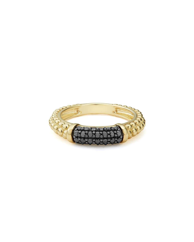 Lagos Caviar 18K Gold Crisscross Ring with Black Diamonds, Size 7
