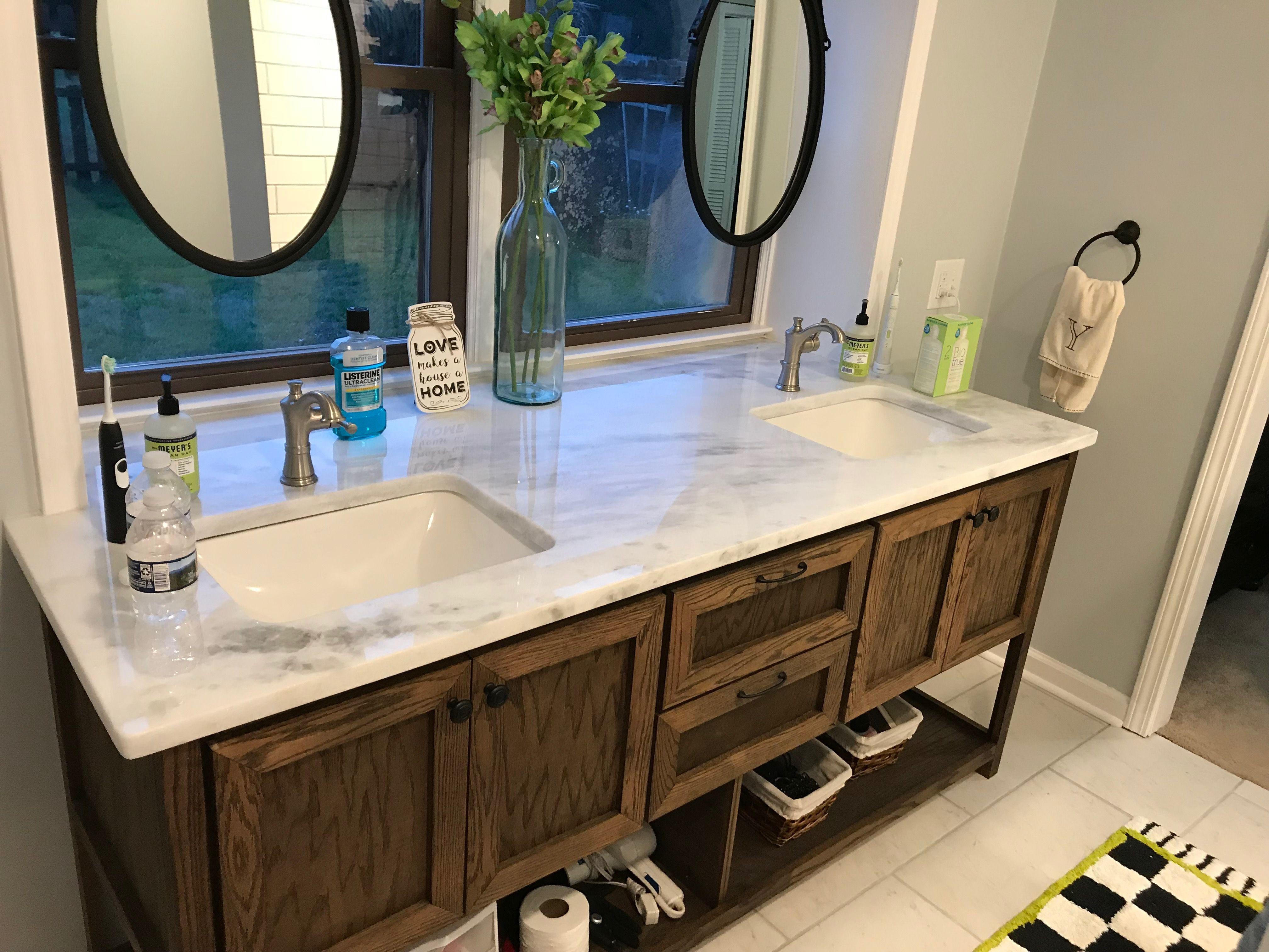 Hanging Bathroom Mirrors In Front Of Window Marble Top Vanity