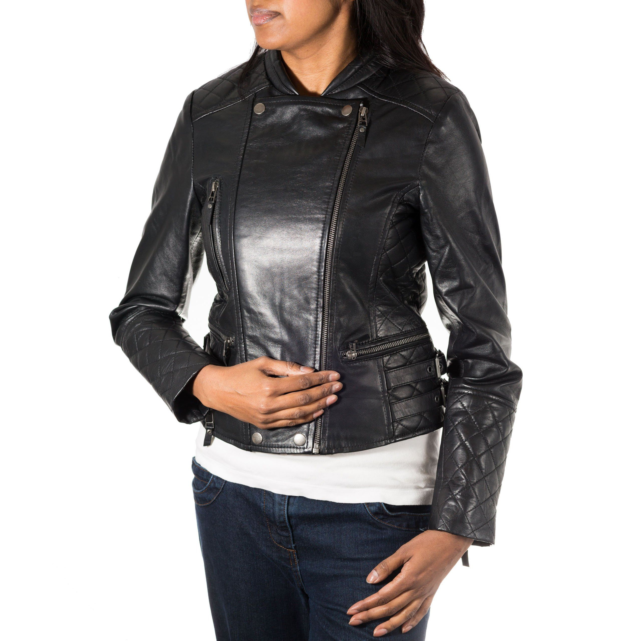 Womens real leather diamond quilted double zipper biker