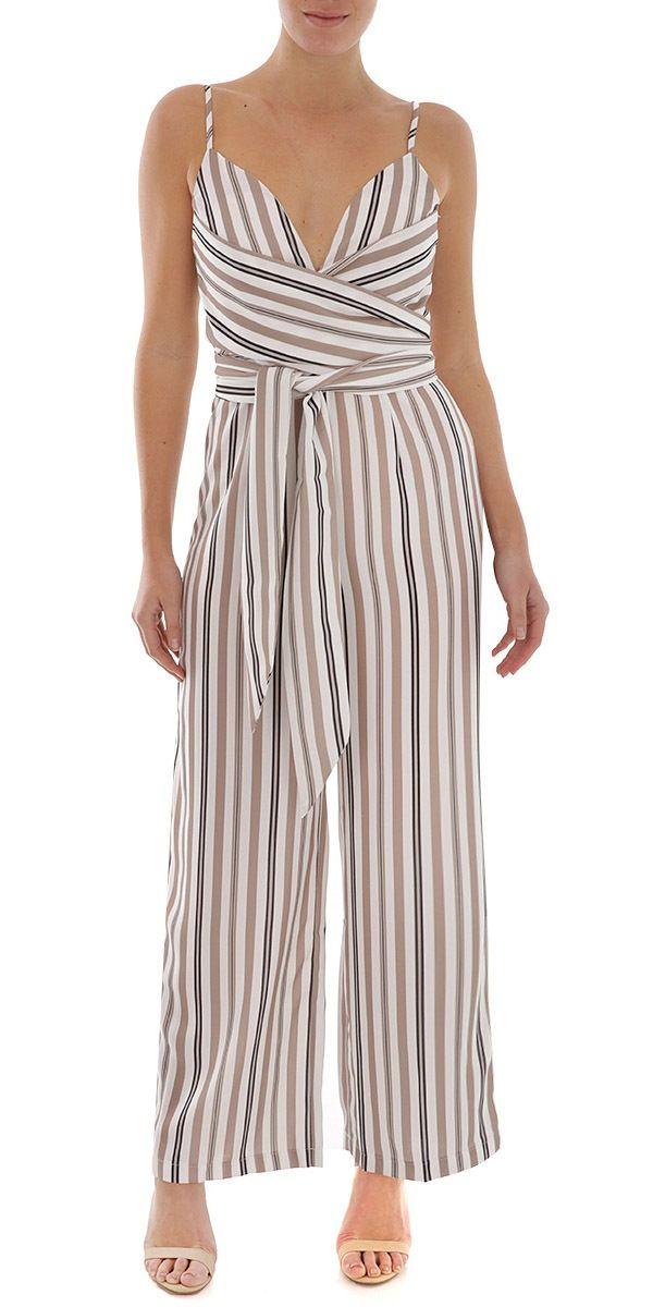 ac3f0c339b Ally Fashion multi-camel-stripe-wrap-front-jumpsuit
