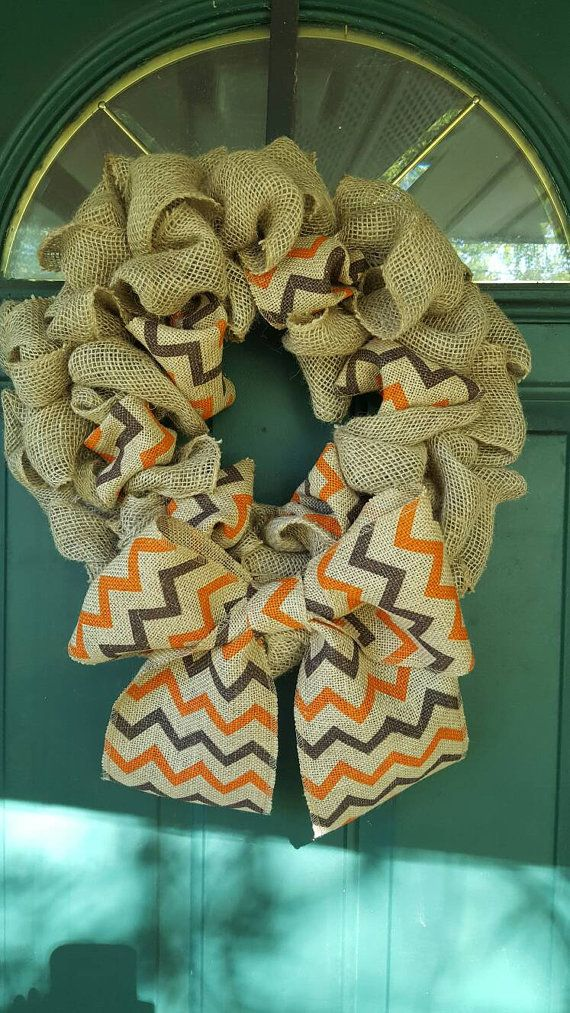 Check out this item in my Etsy shop https://www.etsy.com/listing/481452923/fall-chevron-burlap-wreath-brown-orange