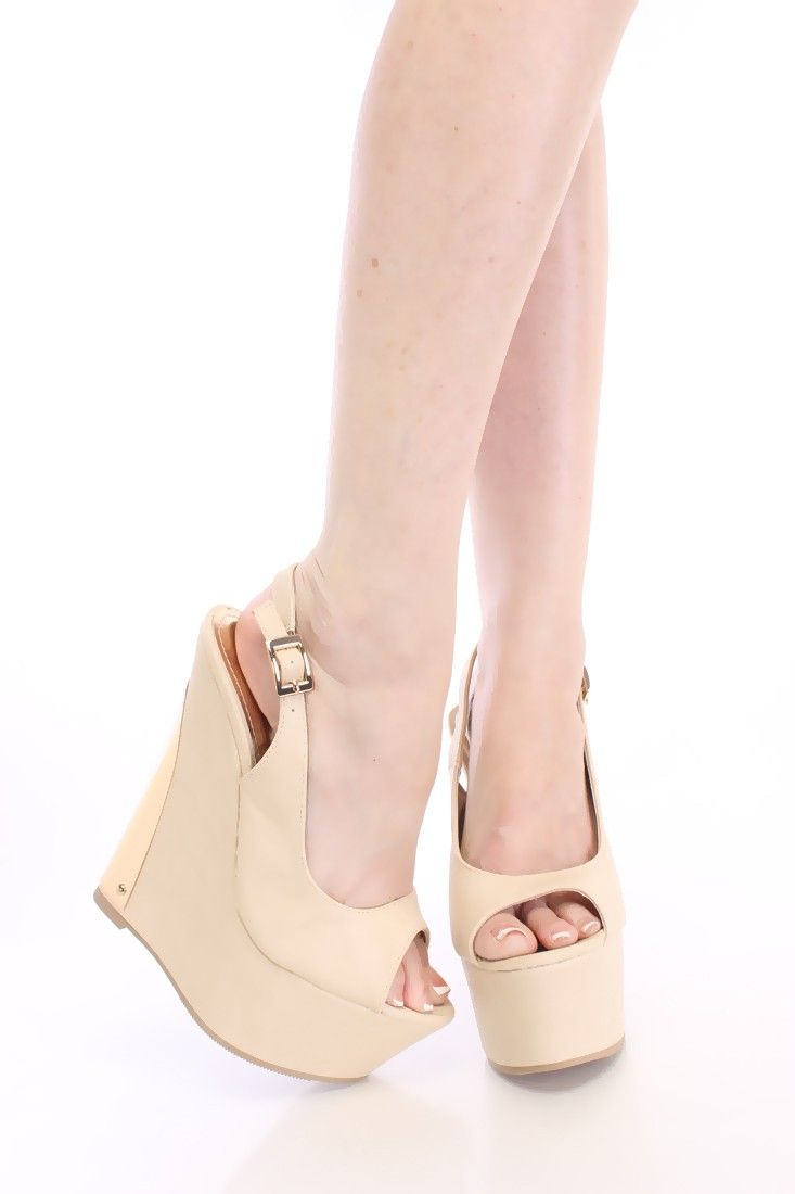 Beige Slingback Peep Toe Wedges Faux Leather