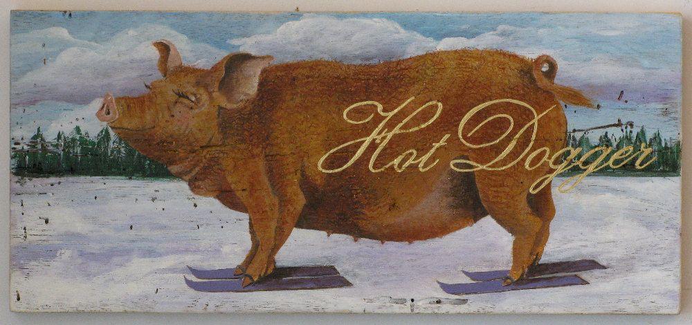 Skiing Pig Painting Original Painting by johnandgigiathome on Etsy, $250.00