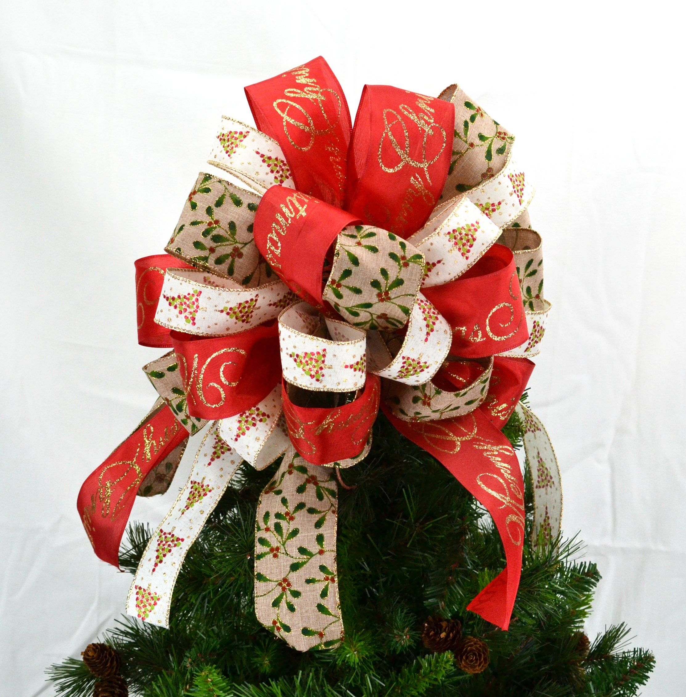 Christmas Tree Topper Bow with Holly Berries Red Burlap