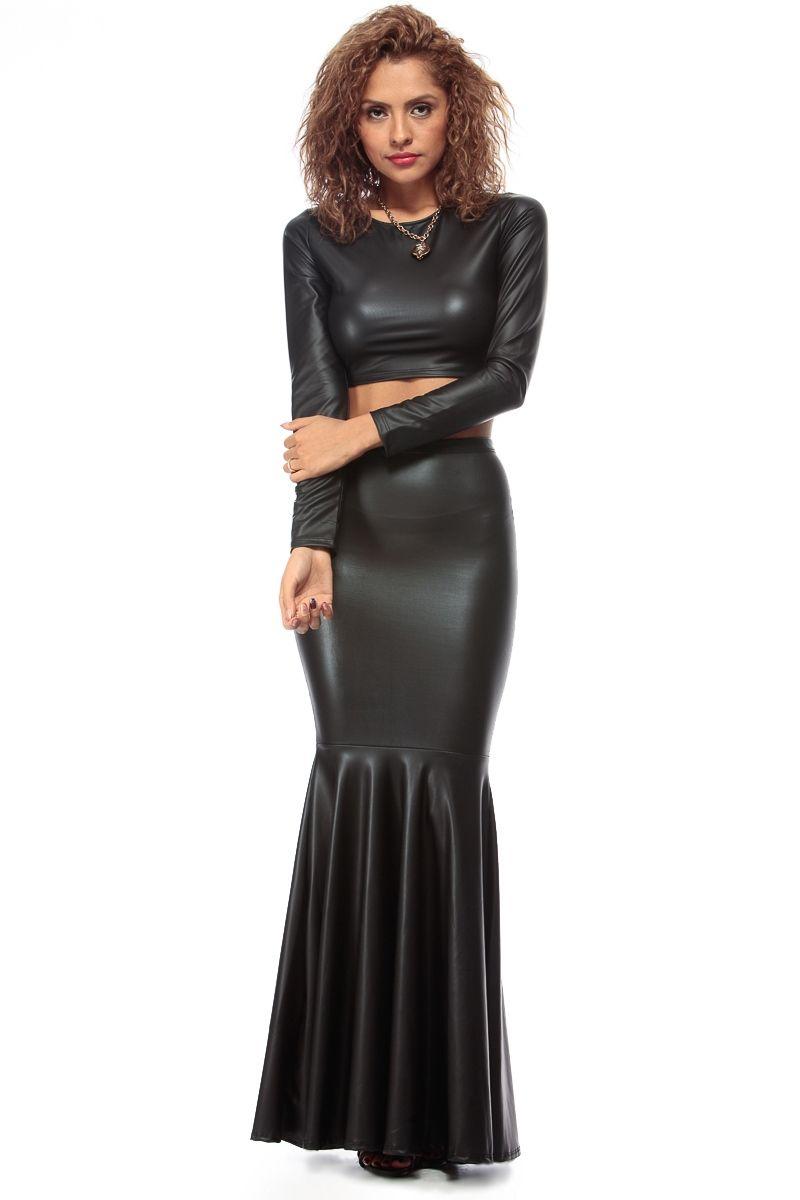 Black Faux Leather Mermaid Maxi Skirt @ Cicihot sexy dresses,sexy ...