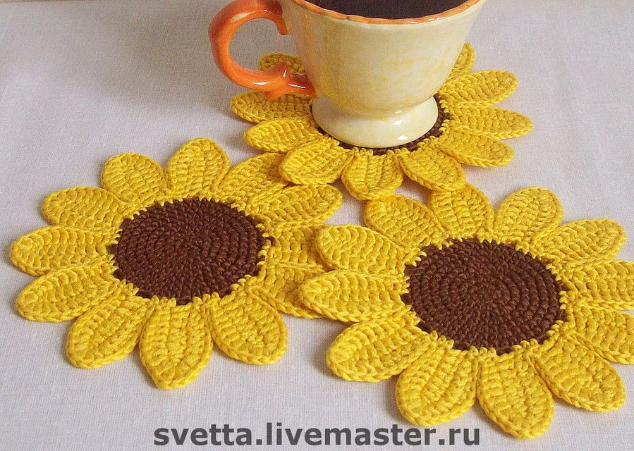 Sunflower Coaster Crochet Crochet Coasters Pinterest