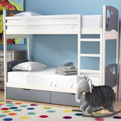 Mack Milo Dulcia Panel Toddler Bunk Bed With Mattress And Drawers