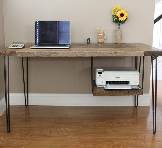 Reclaimed Wood Hairpin Leg Desk With Printer Shelf For The